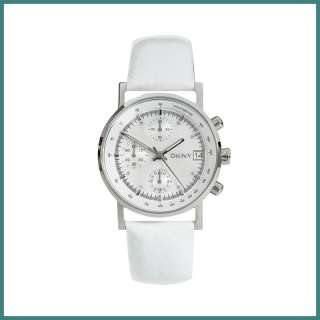 New DKNY womens white leather Chronograph WATCH NY4329 date function