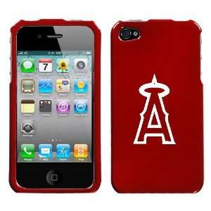 APPLE IPHONE 4 4G WHITE ANGELS OUTLINE SYMBOL ON A RED HARD CASE COVER