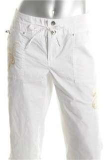 INC NEW Low Rise White Embellished Capri Pants Misses 4