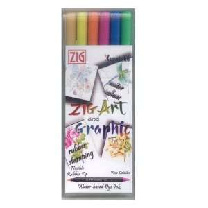 ZIG Art and Graphic Twin Marker 6 Piece Set Vivid Colours
