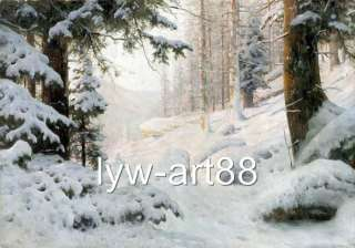 Original Oil painting landscape art Winter Snow Tree