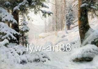 Original Oil painting landscape art Winter Snow Tree