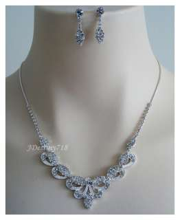 Wedding Bridal Crystal Necklace Earrings Set Prom B4853