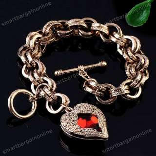 1x Gold Tone Angel Wing Resin Red Heart Toggle Bracelet Rolo Chain