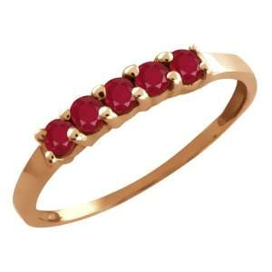 0.60 Ct Round Red Ruby 18k Rose Gold Ring Jewelry