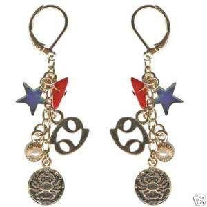 Kirks Folly Crystal Star Gazer Earrings Cancer Zodiac