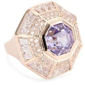 nOir New Novelty Rose Gold Purple Cocktail Ring, Size 8 Jewelry