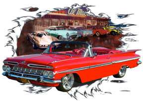 1959 Red Chevy Impala Convertible b Custom Hot Rod Diner T Shirt 59