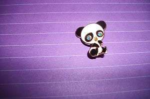 PANDA BEAR BLACK & WHITE LAPEL HAT PIN