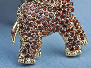 Cute Light Siam Crystal Rhinestone Gold Tone Wild Elephant Animal Pin