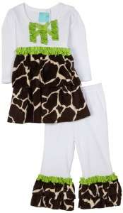 Mud Pie Baby Girls Wild Child Giraffe Disco Pants Shirt Outfit Set