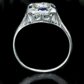 ART DECO OLD MINE CUT DIAMOND VINTAGE SAPPHIRE RING 18K