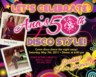 Personalized Adult 70s DISCO Birthday Invitation