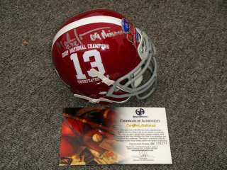MARK INGRAM ALABAMA SIGNED 2009 NATIONAL CHAMPIONS MINI HELMET GAI W