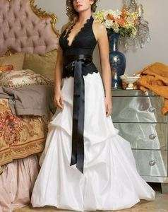2012New A line Black/White Wedding Bridesmaid Dress Prom Party Gown