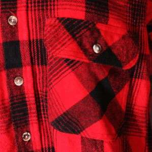 Vtg 80s Five Brother red black Check Plaid Flannel Shirt Men S punk