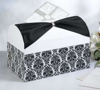 Black & White Damask Wedding Card Box Holder Wishing Well