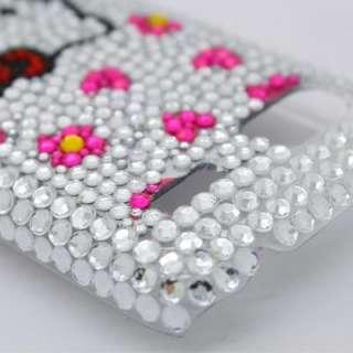 Bling Diamond Silver Kitty Back Hard Case For T Mobile HTC Omega Radar