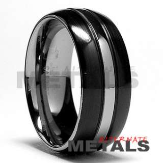 TWO TONE BLACK TUNGSTEN RING MENS BANDS 8,9,10,11,12