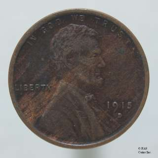 1915 D XF Lincoln Wheat Penny Cent US Coin  #10263102 98