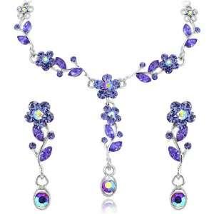 Amethyst Purple Flower Petal Crystal Rhinestone Silver Necklace And