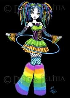 Rainbow Cyber Goth Hula Hoop Fairy Art OOAK ACEO Luxie