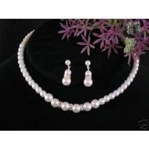 Rondelle 3 pc set White Pearl & Crystal Bridal Wedding