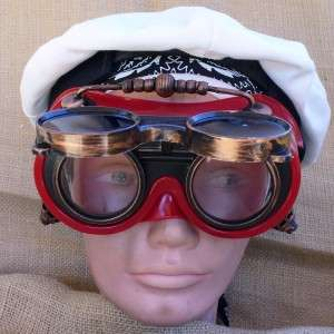 Steampunk Goggles Glasses cyber lens goth Victorian RAVE Biker