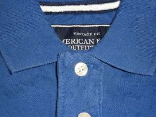 American Eagle AE Pique Mens Blue Polo Shirt New NWT S