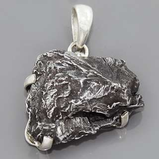 Rare Space Sikhote Alin Meteorite Gemstone 925 Sterling Silver Pendant