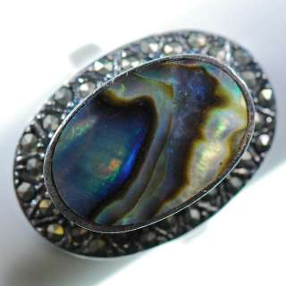 Vintage Sterling Silver   Marcasite Abalone Oval Cocktail   Ring (8