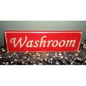 WASHROOM Shabby Country Chic Bath Restroom Primitive Wood Sign Plaque