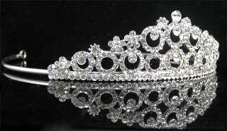 Wedding/Bridal crystal veil tiara crown headband CR189