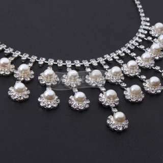 Flower Style Wedding Party Bridal Jewelry Pearl Necklace Stud Earrings