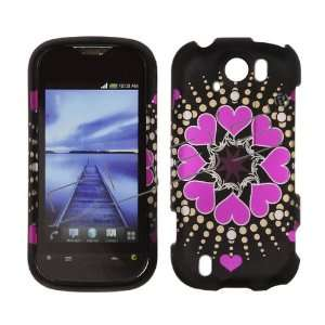 HTC myTouch 4G 4 G Slide / Doubleshot Black with Hot Pink Love Hearts