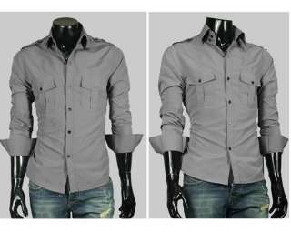 AU6072 New Mens Fashion Stylish Casual Dress Slim Shirts 2 Colour