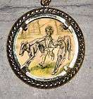 little girl borzoi dog wolfhound art large ornament frame pendant