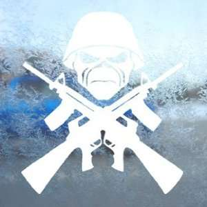 com Eddie Machine Guns Iron Maiden White Decal Band Car White Sticker