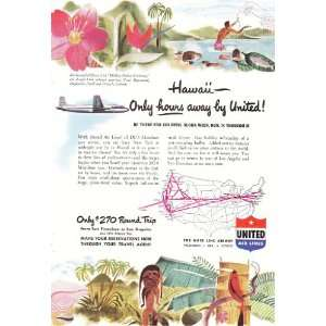 Ad Hawaii United Airlines Vintage Travel Print Ad: Everything Else