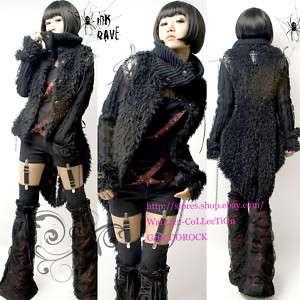 PUNK VISUAL KEI CHARMING BLACK Y269 FAUX FUR COAT S L