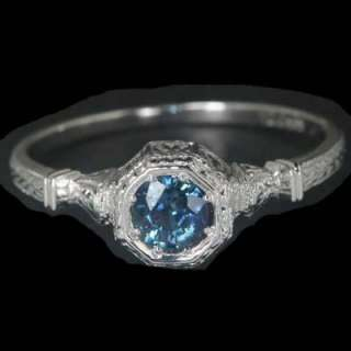 VINTAGE ROUND BLUE SAPPHIRE WHITE GOLD FILIGREE RING