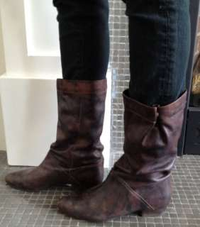 Aldo Brown Womens Leather Flat Boots 9 western Mid calf