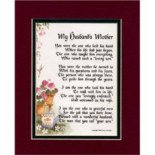 Gift For A Mother in law. Touching 8x10 Poem, Double matted in