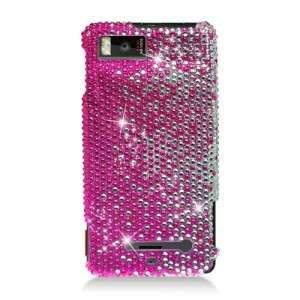 For MOTOROLA DROID X Verizon Diamond Rhinestone Pink Silver Case Phone