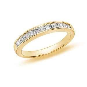 CT Princess Cut Diamond Wedding Band 14K Yellow Gold (I1 I2 Clarity