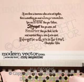 WINNIE THE POOH Quote Vinyl Wall Decal CHRISTOPHER R.