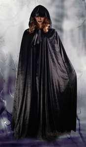 Hooded Black Velvet Cape Clubwear Shawl Wicca Wedding Costume