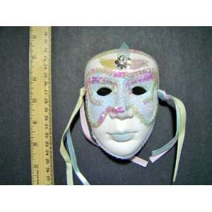 Ceramic Mardi Gras Face Mask for Wall   204 Blue