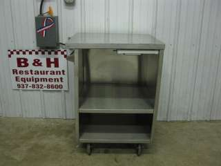 You are looking at a 27 5/8 x 25 1/4 stainless steel mobile table.