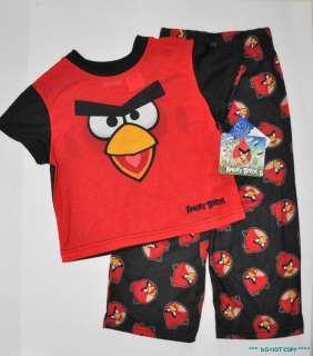 NEW JUST ARRIVED BOYS 2pc ANGRY BIRDS PAJAMAS PYJAMAS PJS RED / BLACK
